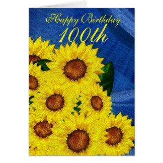 100o Girasoles florales de la tarjeta de