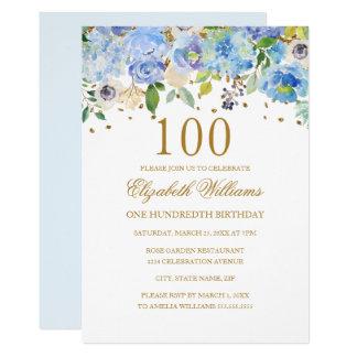100o Invitación floral del oro azul elegante del