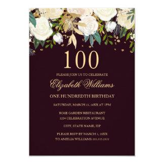 100o Invitación floral del oro de Borgoña del