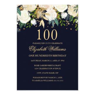100o Invitación floral del oro elegante de la