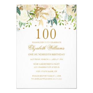 100o Invitación floral del oro elegante del