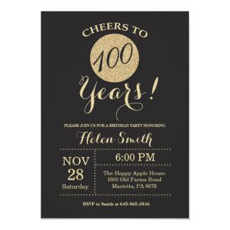 100o Negro de la invitación del cumpleaños y