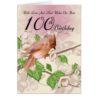 100o Tarjeta de cumpleaños con el pájaro y el flor