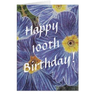 100o Tarjeta de cumpleaños con las flores azules