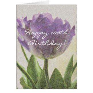 100o Tarjeta de cumpleaños con las flores púrpuras