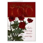 100o Tarjeta de cumpleaños con los rosas