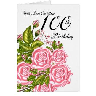 100o Tarjeta de cumpleaños con los rosas rosados