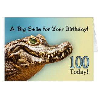 100o Tarjeta de cumpleaños con un cocodrilo