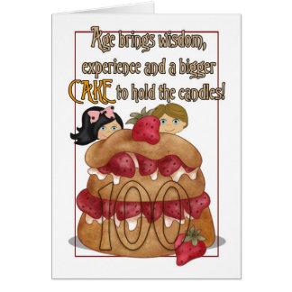 100o Tarjeta de cumpleaños - humor - torta