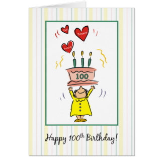100o Torta y corazones de cumpleaños para la mujer Tarjeta De Felicitación