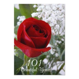 101o Color de rosa Celebración-Rojo del cumpleaños Invitación 12,7 X 17,8 Cm