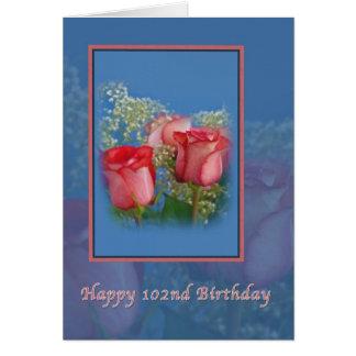 102o Cumpleaños, rosas religiosos, rojos Tarjeta De Felicitación