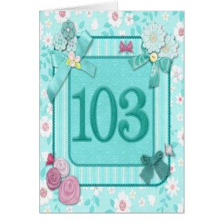 103a tarjeta de cumpleaños con las flores