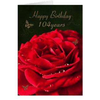 104o Tarjeta de cumpleaños con un rosa rojo