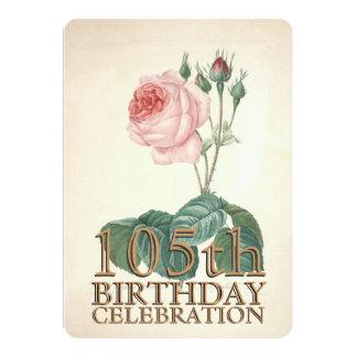 105o personalizado subió vintage de la celebración invitación 12,7 x 17,8 cm