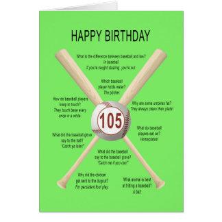 105os chistes del béisbol del cumpleaños tarjeta de felicitación