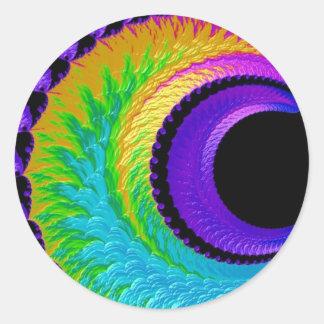 108-39 luna metálica del creciente del arco iris pegatina redonda