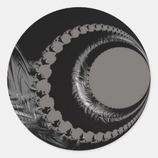 108-44 luna creciente negra y de plata pegatina redonda