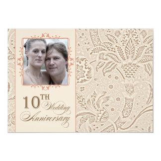 10 años de la foto de boda de vintage del invitación 12,7 x 17,8 cm
