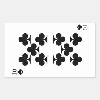 10 de clubs pegatina rectangular