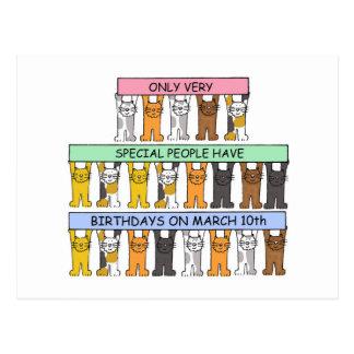 10 de marzo gatos del cumpleaños postal