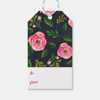10 etiquetas del regalo - dril de algodón Fleur Etiquetas Para Regalos