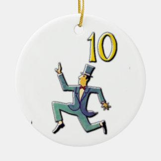10 señores un salto adorno de cerámica