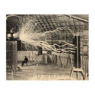 """10"""" x8"""" Nikola Tesla en su arte de madera de la"""