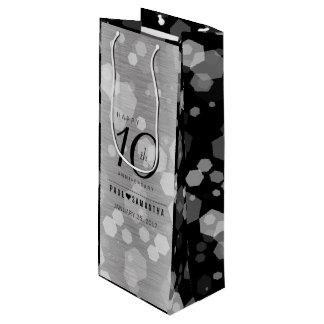 10ma celebración elegante del aniversario de boda bolsa para vino