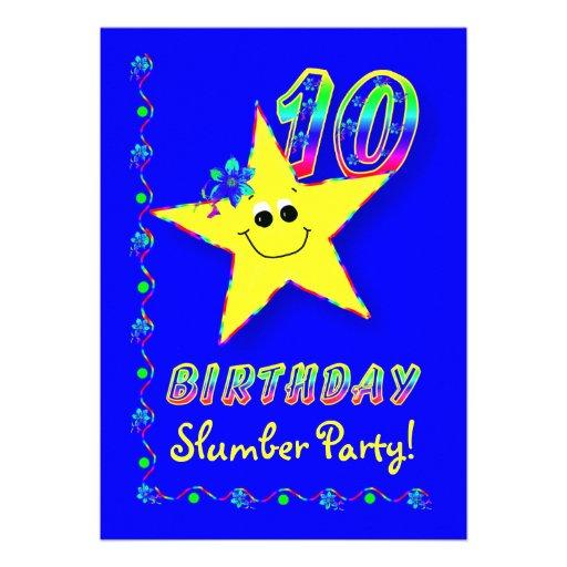 10ma invitación de la fiesta de pijamas del cumple