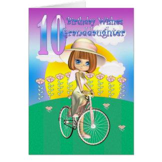 10ma tarjeta de cumpleaños de la nieta con la niña