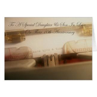 10ma tarjeta del aniversario de la hija y del yern