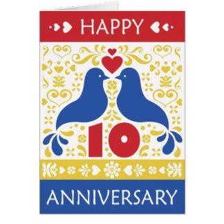 10ma tarjeta feliz del aniversario