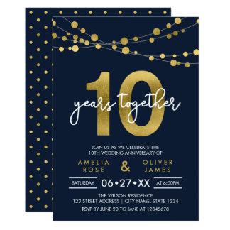 10mo aniversario de boda de las luces elegantes invitación 12,7 x 17,8 cm