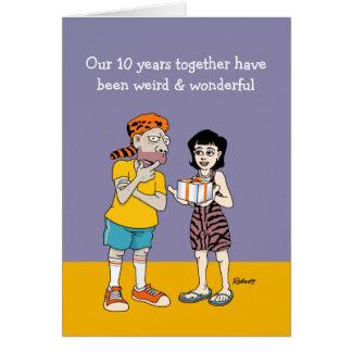 10mo aniversario de boda divertido tarjeta de felicitación