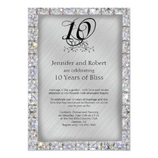 10mo Aniversario de la lata y de boda de diamante Invitación 12,7 X 17,8 Cm