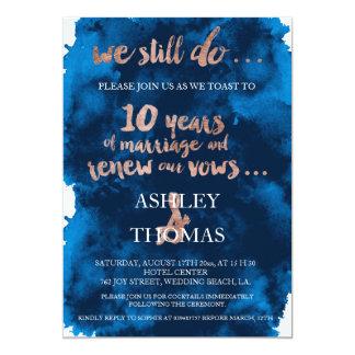 10mo aniversario del oro de la tipografía de la invitación 12,7 x 17,8 cm
