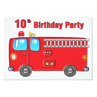 10mo cumpleaños del coche de bomberos fabuloso invitación 12,7 x 17,8 cm