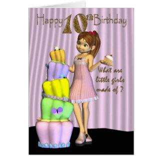 10mo Cumpleaños, ingenio de la niña de la tarjeta