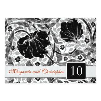 10mo damasco de las invitaciones del aniversario invitación 12,7 x 17,8 cm