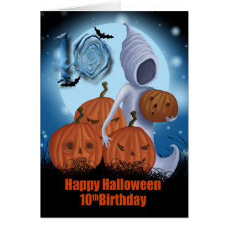 10mo Fantasma y calabazas de Halloween del Tarjeton