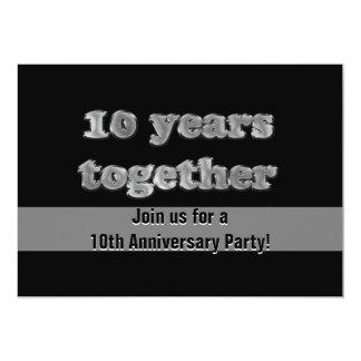 10mo Fiesta de aniversario el | 10 años junto Invitación 12,7 X 17,8 Cm