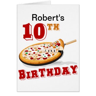 10mo Fiesta de la pizza del cumpleaños Tarjeta De Felicitación
