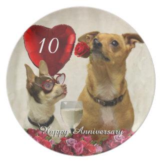 10mo La chihuahua del aniversario persigue la Plato De Cena