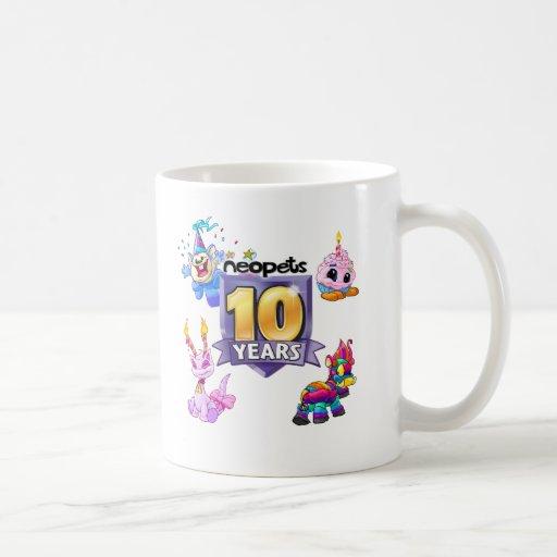 10mo Logotipo del cumpleaños Tazas De Café