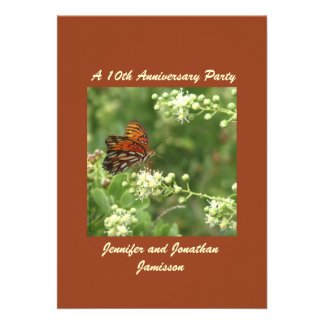 10mo Mariposa de la invitación de la fiesta de ani