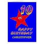 10mo nombre del personalizado del cumpleaños de la felicitacion