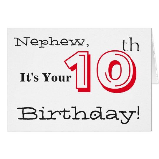 10mo saludo del cumpleaños del sobrino en rojo y tarjeta de felicitación