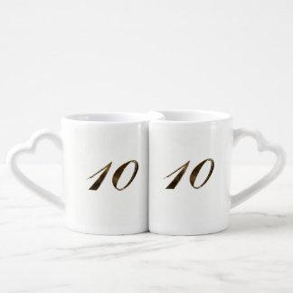 10mo Tipografía del aniversario de boda de la lata Set De Tazas De Café