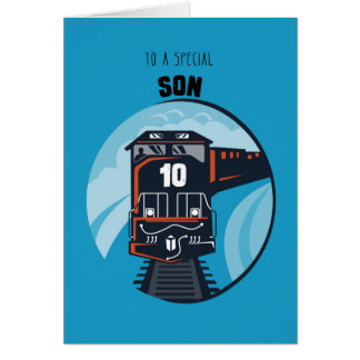 10mo tren del cumpleaños del hijo, Little Boy, Tarjeta De Felicitación